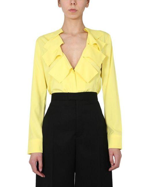 Bottega Veneta Yellow Matt Stretch Viscose Shirt