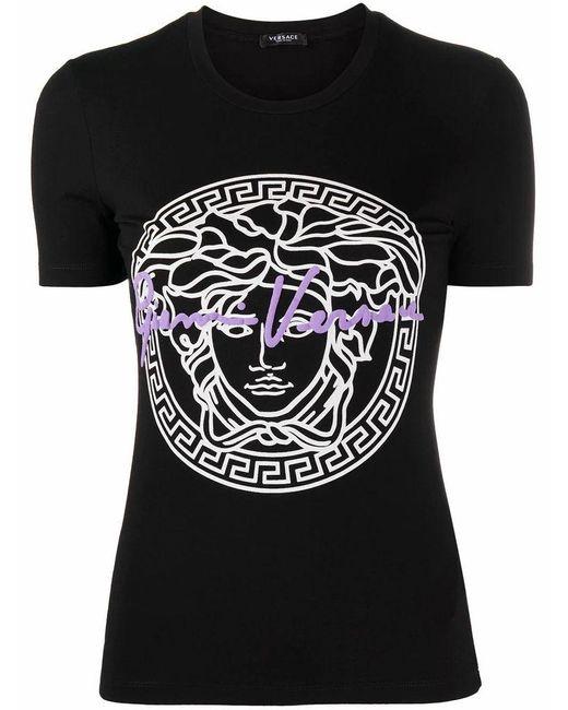 Versace Women's A88682a213311a1008 Black Viscose T-shirt