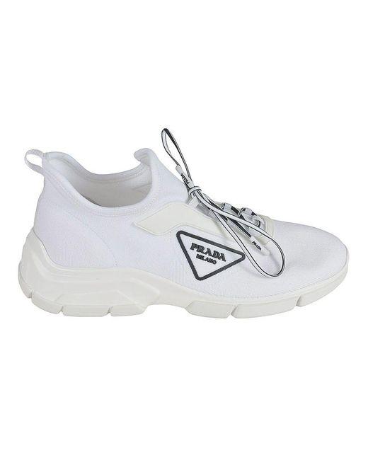 Prada Women's 1e451m3kksf0009 White Polyester Sneakers