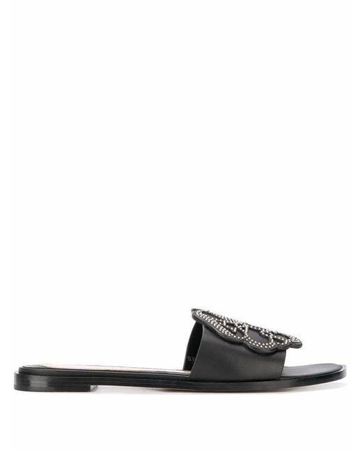 Alexander McQueen Women's 611713whxn11081 Black Leather Sandals
