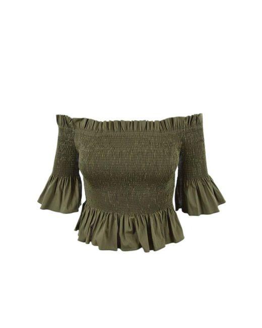 Patrizia Pepe Green Shirt / Top Poplin Stretch