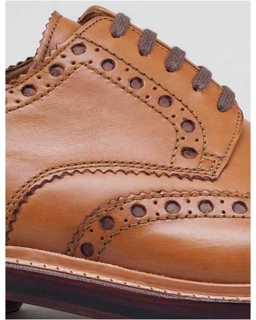 GRENSON Brown Archie Big Punch Brogue Shoes for men