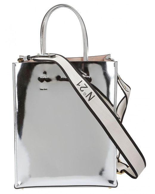N°21 - Metallic Tote Bag In Silver - Lyst ... 52f5d4ba58893