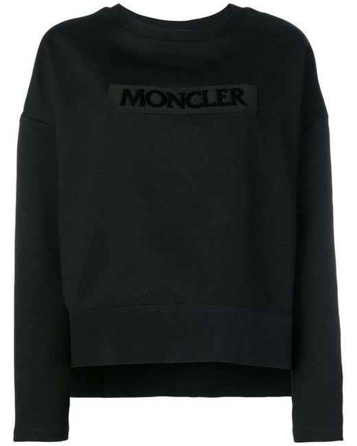 Moncler Black Embroidered Logo Sweatshirt