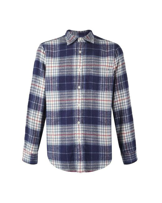 Portuguese Flannel Bleeckers Check L/s Shirt Blue / Navy / Red for men