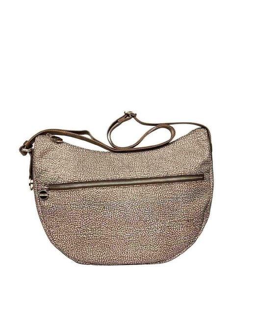 Borbonese Brown Women's 934108i15994 Beige Polyester Shoulder Bag