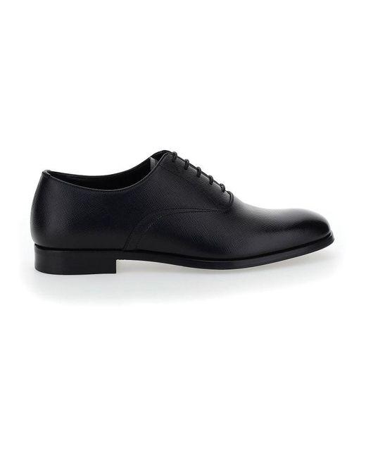 Prada Men's 2eb172fx001053f0002 Black Leather Lace-up Shoes for men