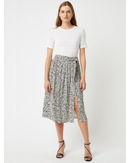Great Plains Javan Print Skirt In Black & White