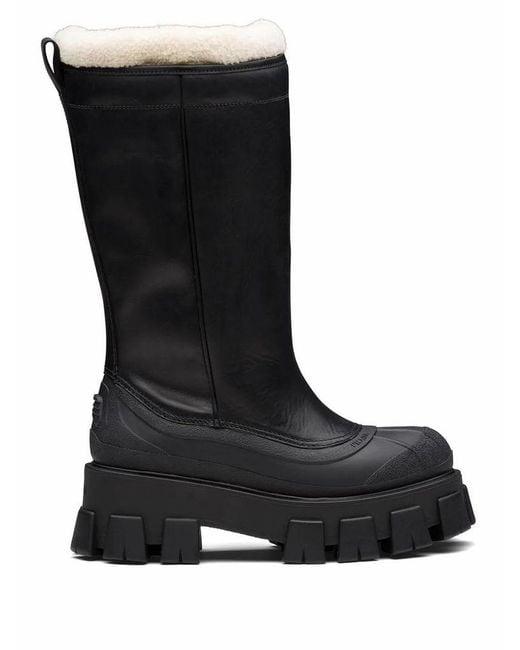 Prada Women's 1w380mfzf553a6nf0889 Black Leather Boots