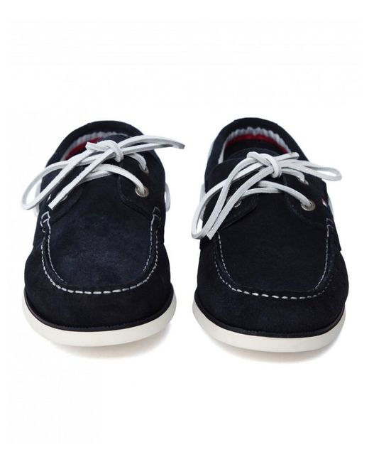 e56ff97cf Tommy Hilfiger Classic Suede Boat Shoes in Blue for Men - Lyst