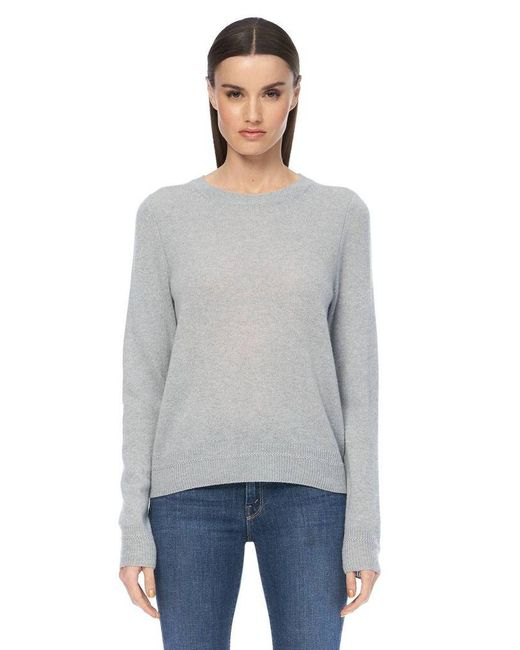 360cashmere Gray Leila Misty Blue Cashmere Crew Neck Sweater