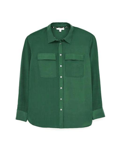 White Stuff Green Ladies Charlee Silk Shirt