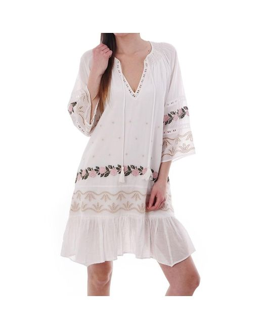 JEFF White Patsy Cross Stitch Cotton Dress