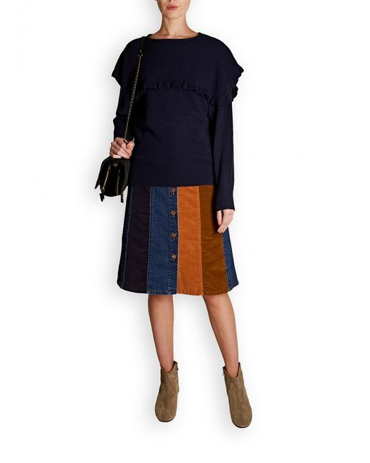 See By Chloé - Blue Denim Patchwork Skirt - Lyst