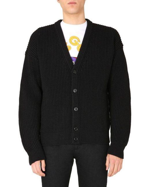 Gcds Black Oversize Fit Cardigan for men
