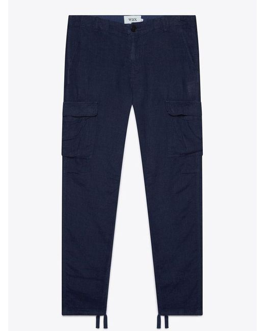 Wax London Blue Brick Navy Linen Trousers for men