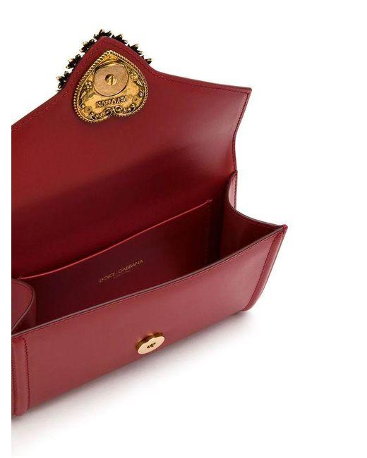 Dolce & Gabbana Red Devotion Fanny Pack In Plain Calfskin