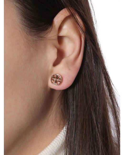 Tory Burch Pink Circle-stud Logo Earrings
