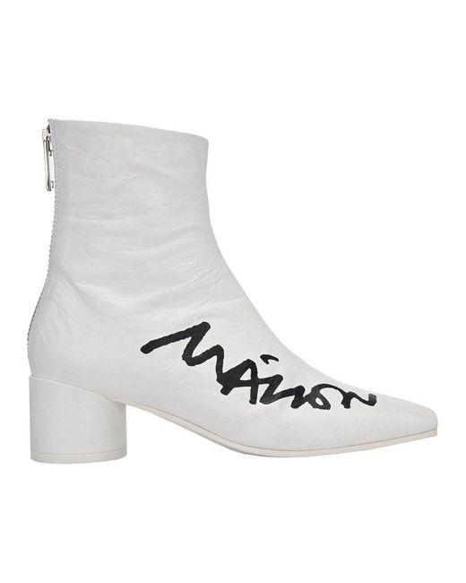 MM6 by Maison Martin Margiela White Logo Scrawl Print Ankle Boots