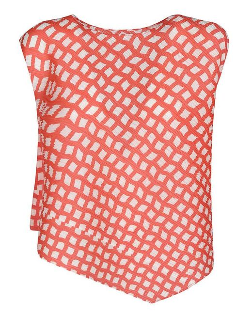 Pleats Please Issey Miyake Pleats Please Issey Miyake Women's Pp06jk68125 Red Polyester Top