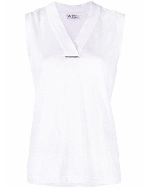 Brunello Cucinelli Women's Mf982bq322c159 White Linen Top