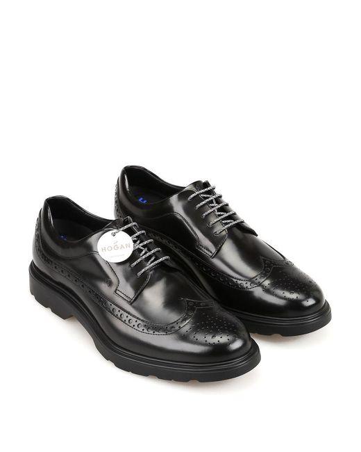 Hogan Leather H393 New Derby Black Shoes for Men - Lyst