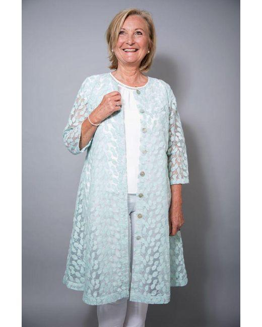 Out Of Xile Blue Leaf Embroidery Coat Aqua