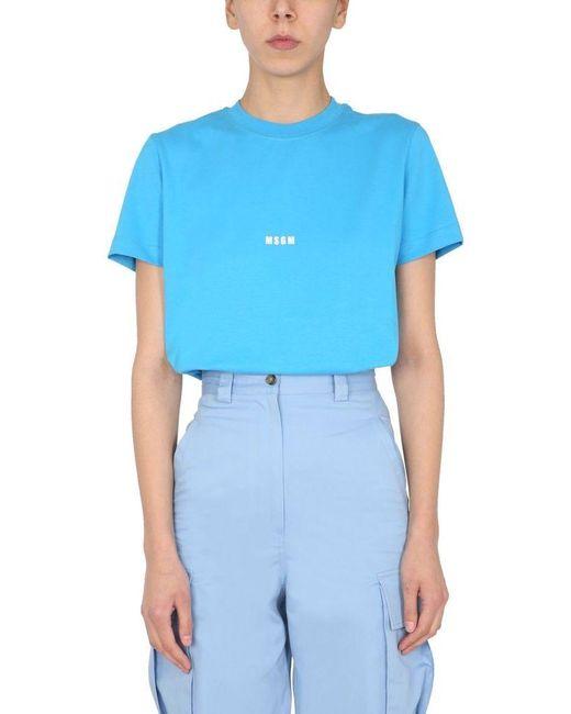 MSGM Women's 3042mdm10021749884 Light Blue Other Materials T-shirt