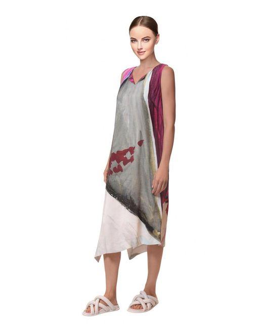 Crea Concept - Gray Abstract Print Dress Raspberry/grey - Lyst