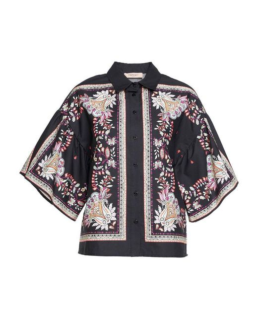 Twin Set Black Blouse In Allover Print 'st.foula'