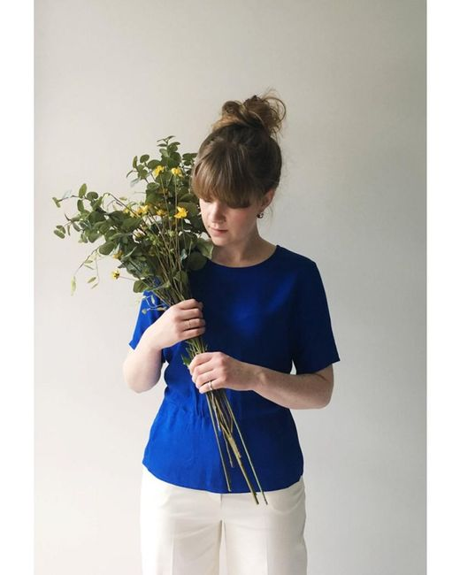 SELECTED - Blue Tanna Ss Top - Lyst