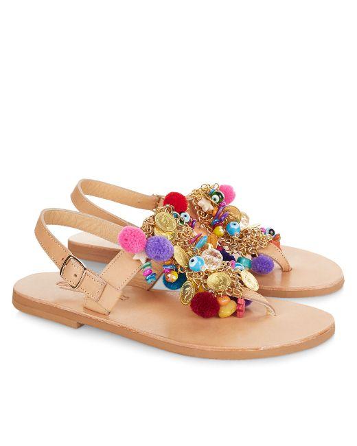 Elina Linardaki Multi Jelly Tots Amp Pom Pom Charm Sandals