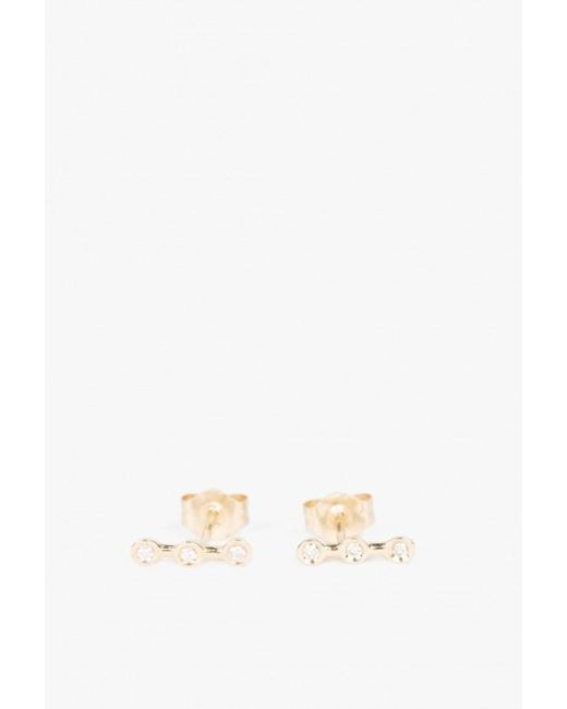 Ariel Gordon | Metallic Mini Diamond Horizon Studs | Lyst