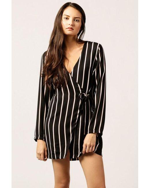 Azalea - Black Striped Buckle Wrap Dress - Lyst