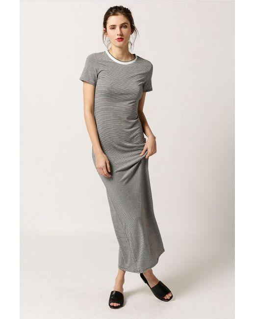 Azalea | Gray Striped Maxi T-shirt Dress | Lyst