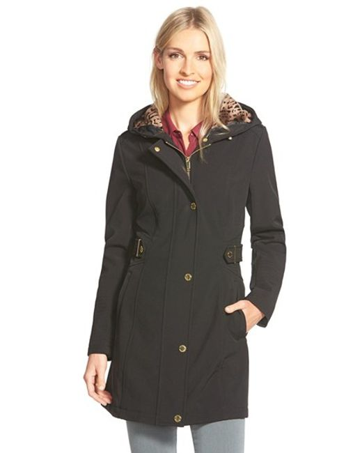 Via Spiga | Black Hooded Soft Shell Coat With Animal Print Lining | Lyst
