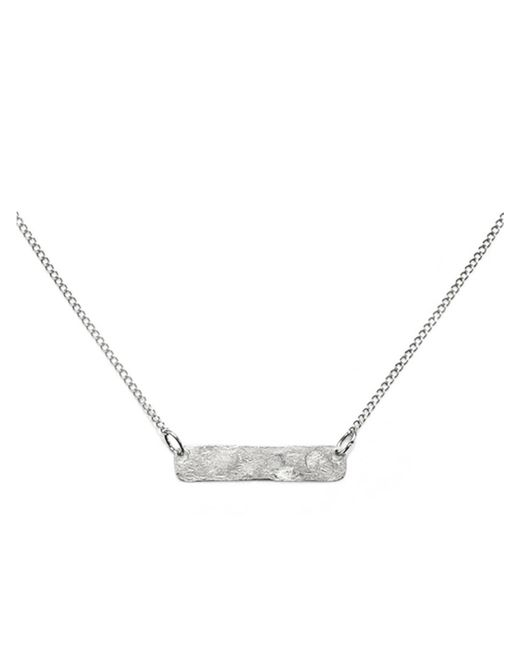 Phyllis + Rosie | Metallic Hammered Bar Necklace - Silver | Lyst