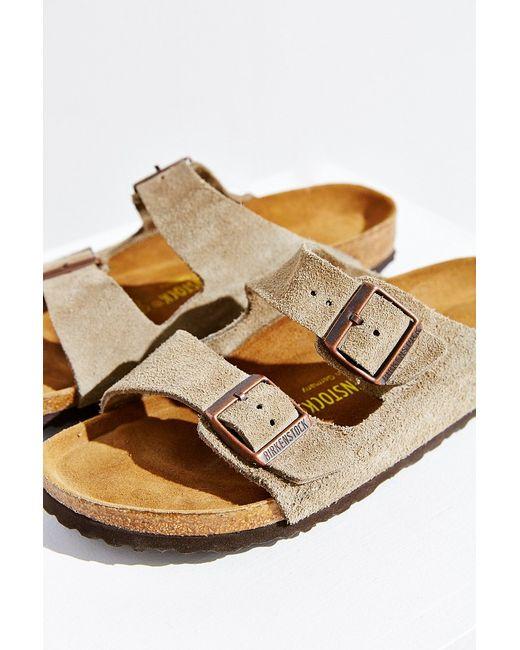 birkenstock arizona suede sandal in brown taupe lyst. Black Bedroom Furniture Sets. Home Design Ideas