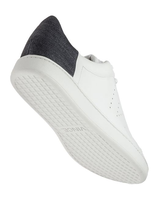 vince varin white leather lace up sneaker in white white