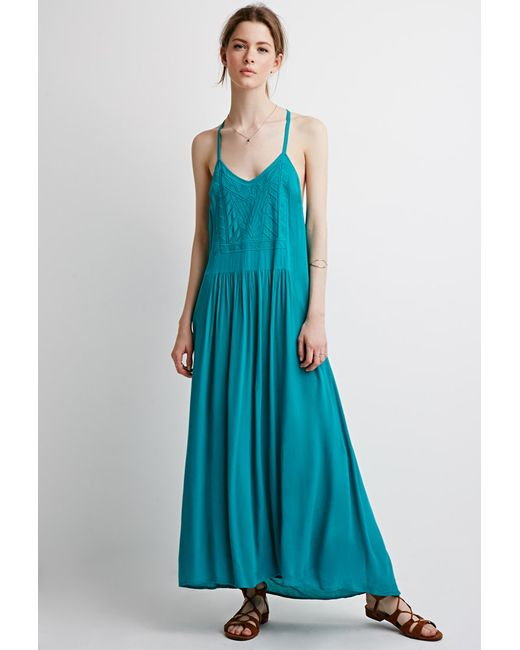 Forever 21 | Blue Embroidered Maxi Dress | Lyst