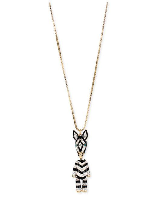 Betsey Johnson | Metallic Gold-tone 3-d Zebra Pendant Long Necklace | Lyst
