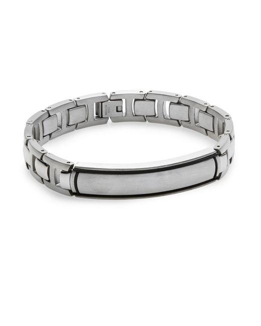 Saks Fifth Avenue   Metallic Stainless Steel & Titanium Link Bracelet for Men   Lyst