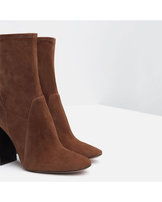 zara leather high heel ankle boots in brown leather lyst
