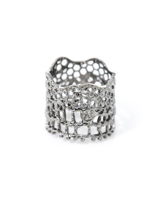Aurelie Bidermann | Metallic Silver-Plated Vintage Lace Ring | Lyst