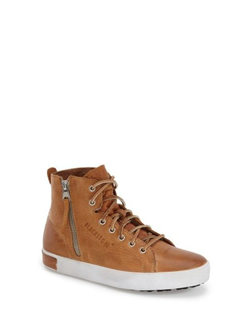 Blackstone Kl57 Leather High Top Sneakers In Brown For Men