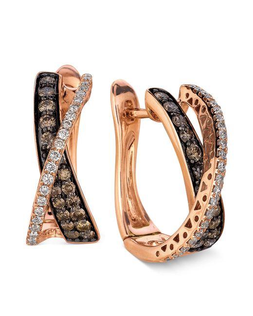 Le Vian | Brown Diamond Chocolate Diamond And White Diamond Crisscross Hoop (1 Ct. T.w.) In 14k Rose Gold | Lyst