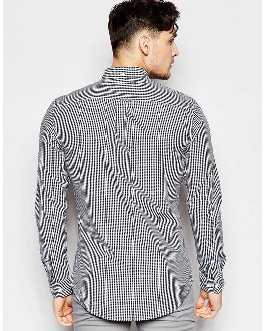 Farah shirt with gingham check slim fit in blue for men for Slim fit gingham check shirt