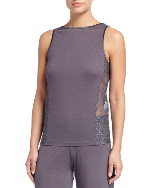 La Perla | Gray Iris Sleeveless Pajama Top With Lace | Lyst