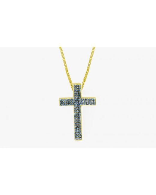 Tateossian | Precious Cross Micro Pavé Necklace In 18k Yellow Gold With 46 0.6ct Blue Sapphires for Men | Lyst