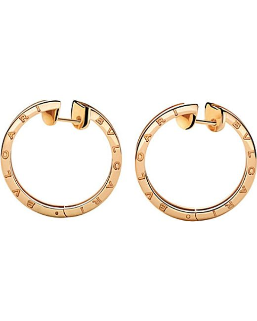 BVLGARI | B.zero1 18kt Pink-gold Hoop Earrings | Lyst